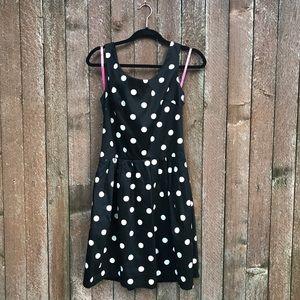 Betsey Johnson black white polka dot dress 6 cute
